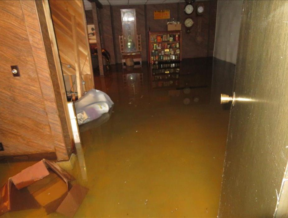Flooded basement caused by freezing temperatures.